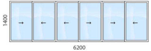Остекление лоджии 6 метровой алюминиевым профилем от 25100.0.